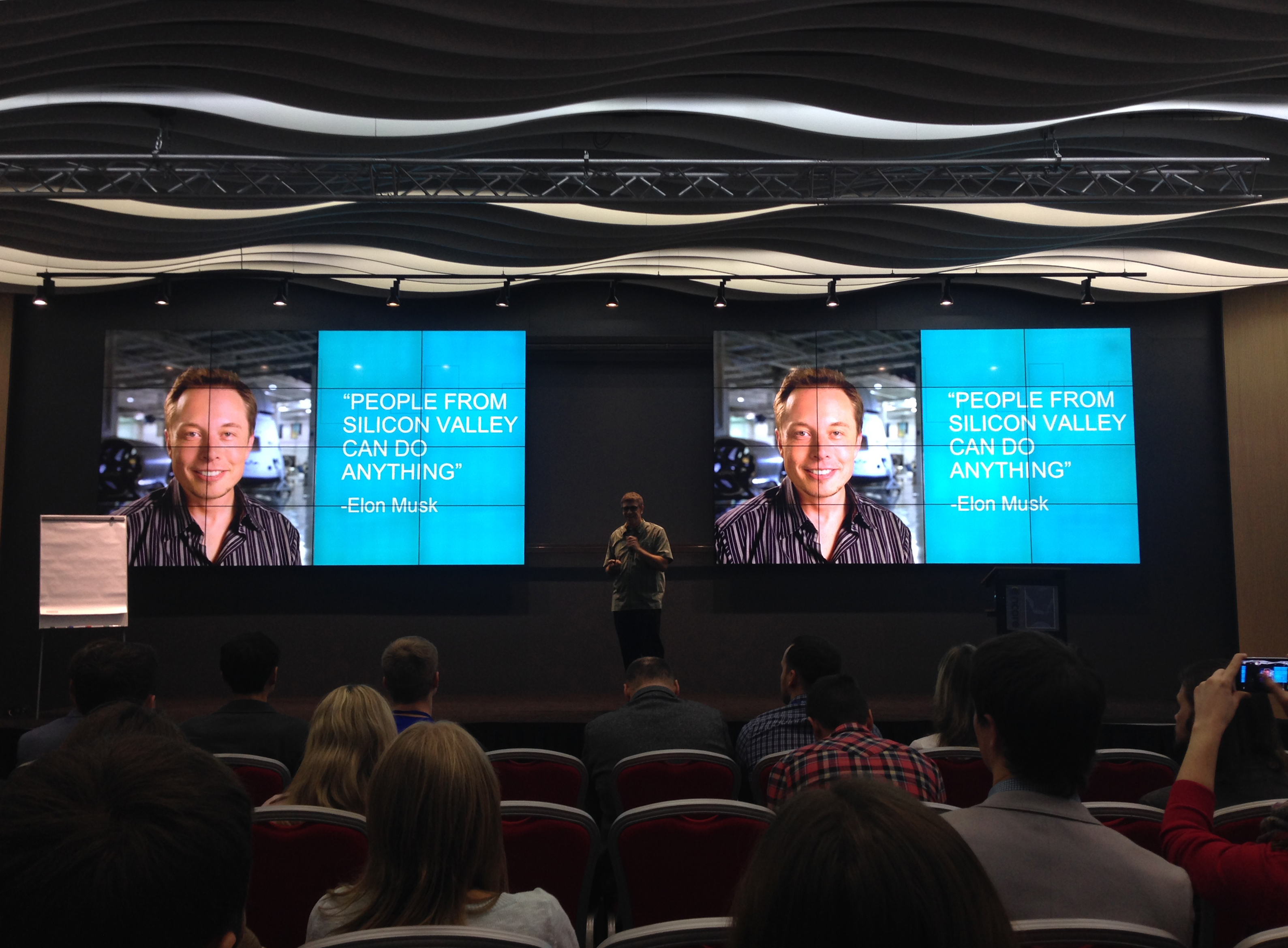 Slide with Elon Musk quote at Outsource People 2015