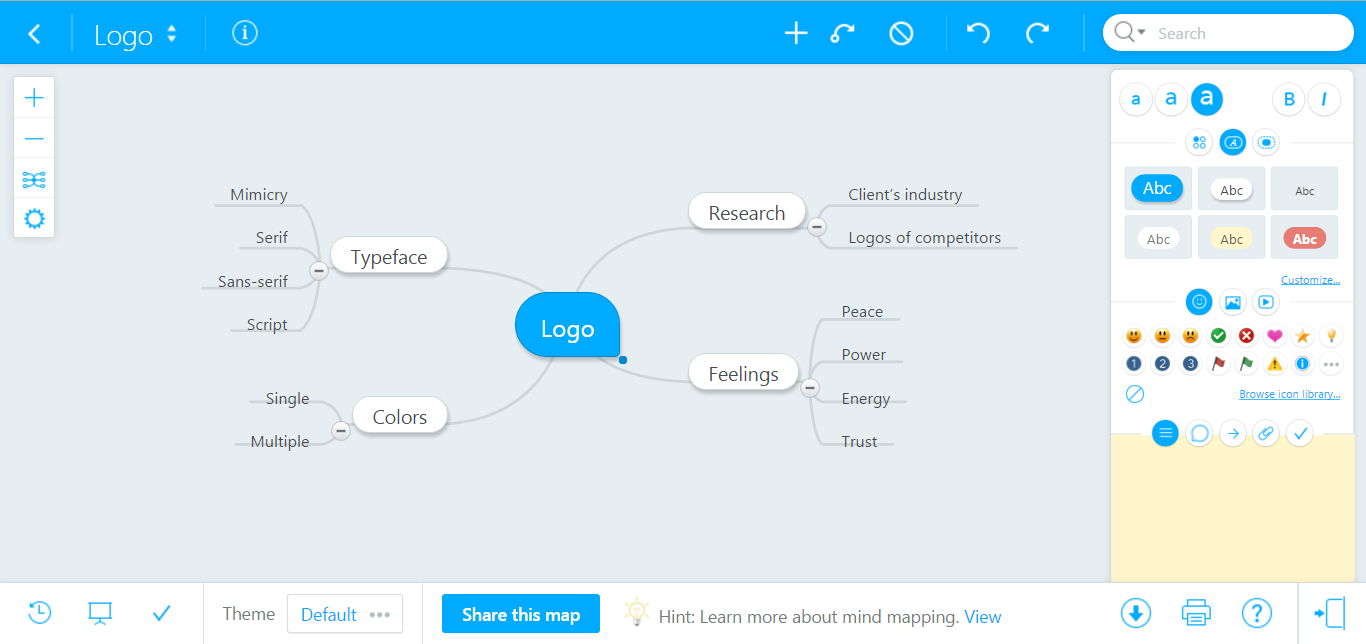 Creating mind map in  MindMeister