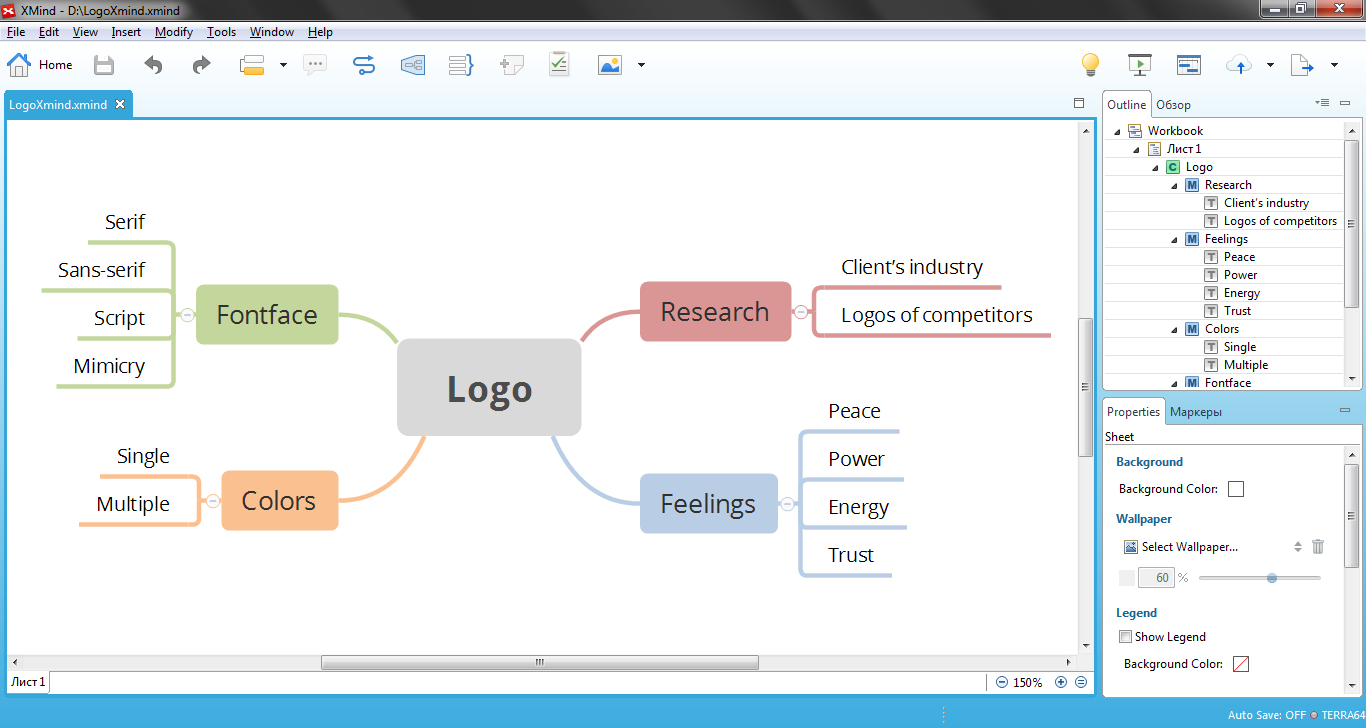 Creating mind map in  XMind