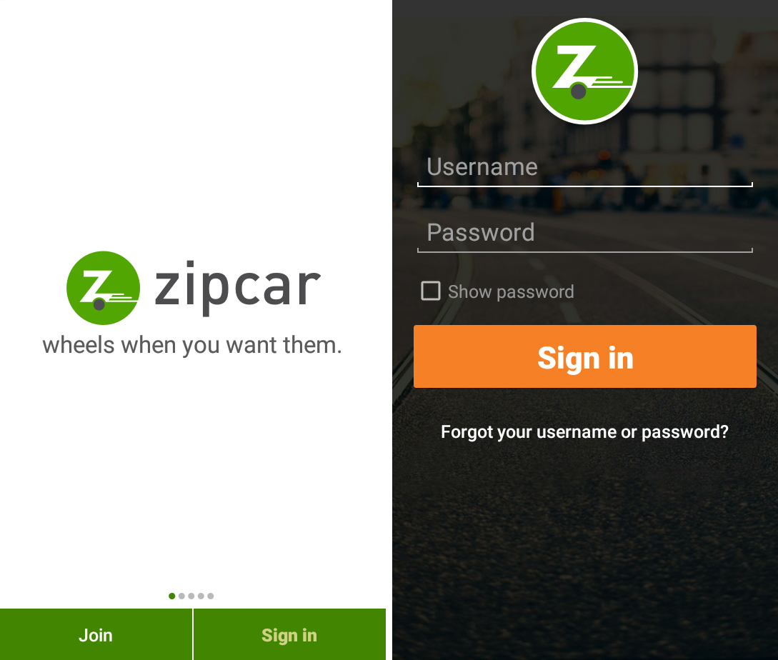 Приложение Zipcar