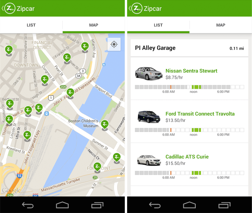Choosing car in Zipcar app