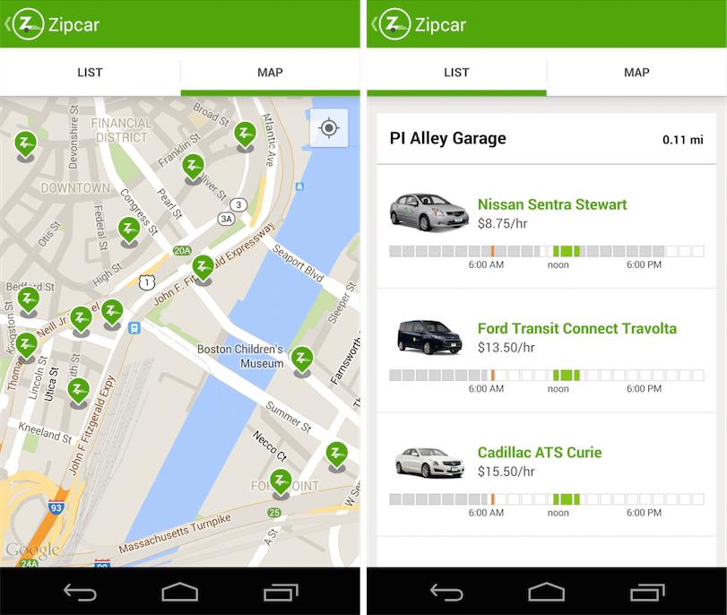 Выбор автомобиля в приложении Zipcar