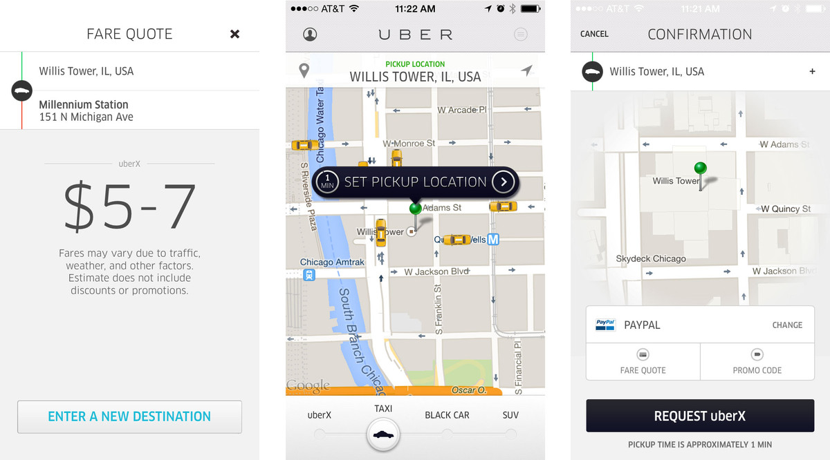 Заказ такси в приложении Uber