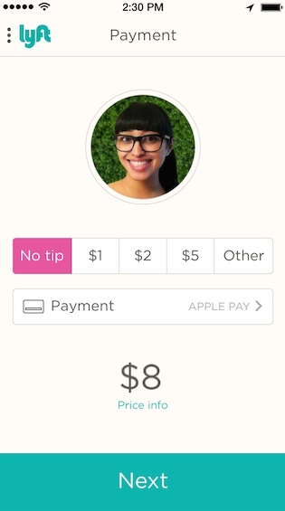 Adding tips in Lyft