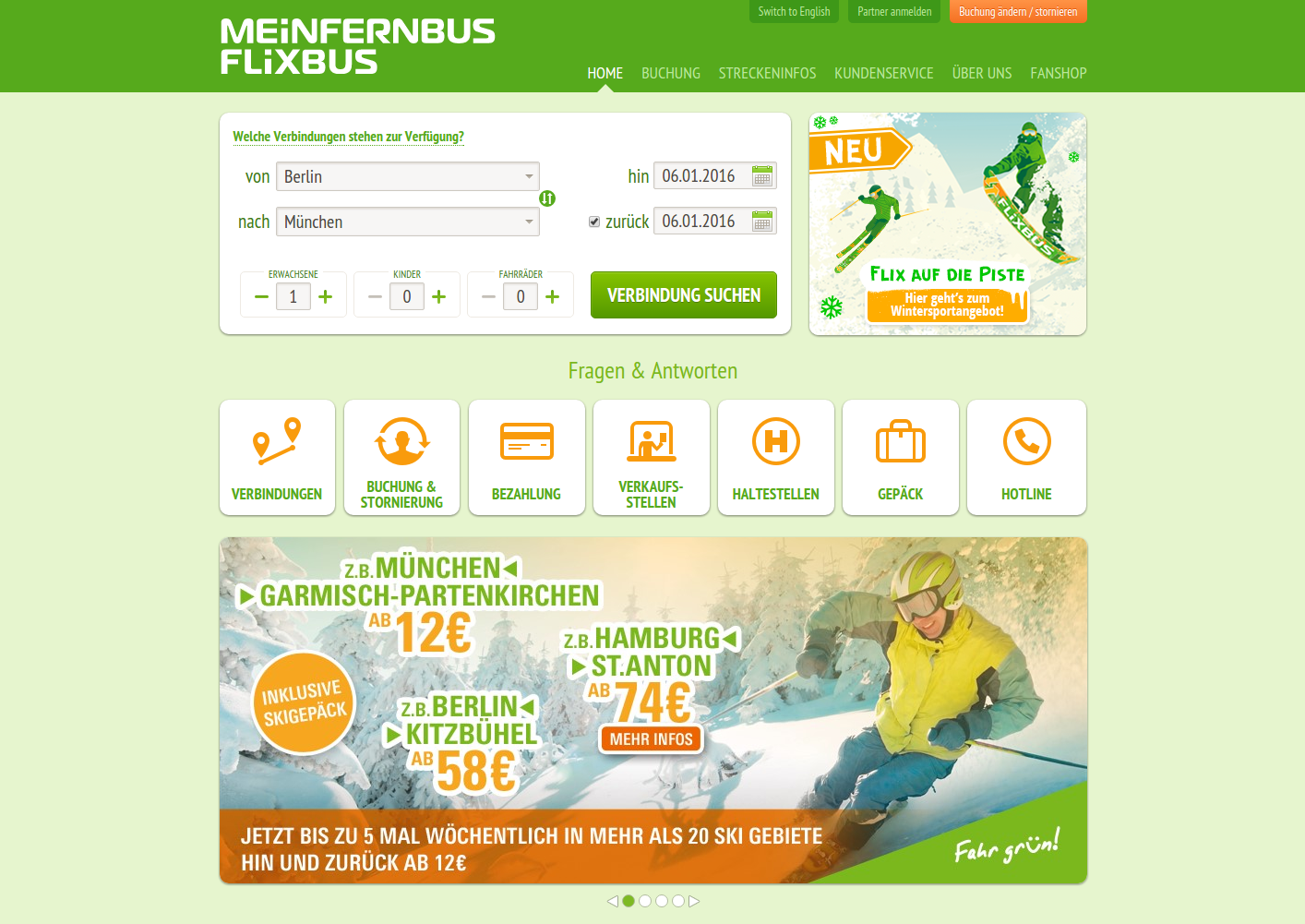 MeinFernbus transportation company website made with Symfony2
