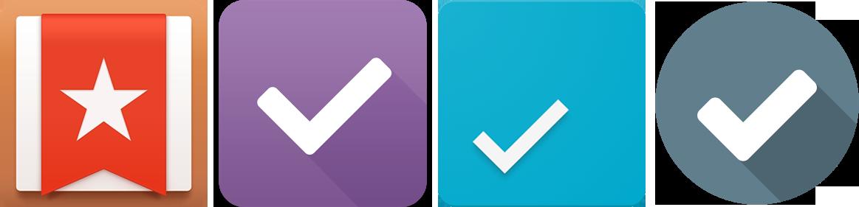 Сравнение иконки Wunderlist и других приложений для списков дел
