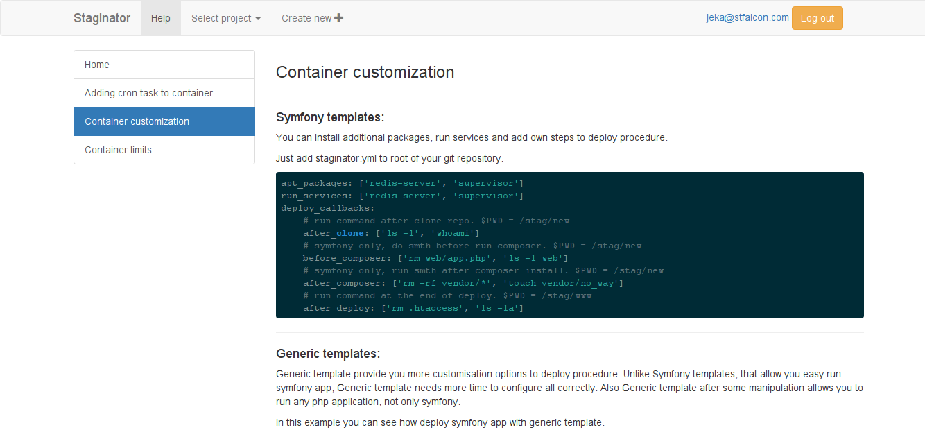 Container customization in Staginator