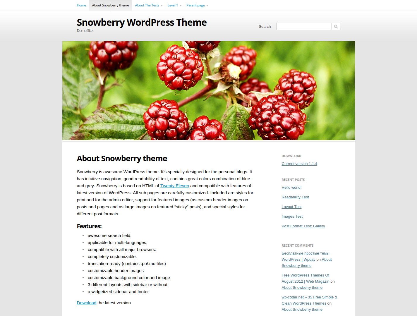 Тема Snowberry для Wordpress