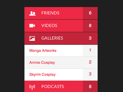 Menu with links grouping, 	accordion menu
