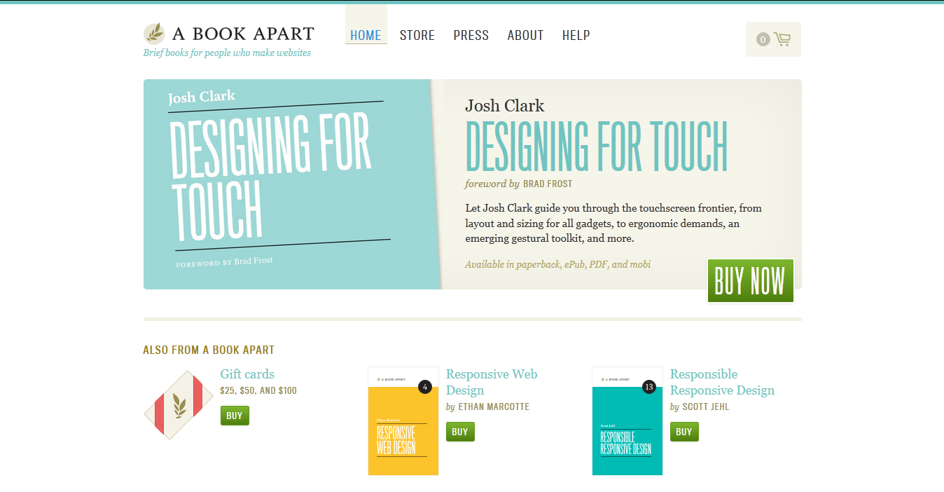 Responsive webdesign for book store