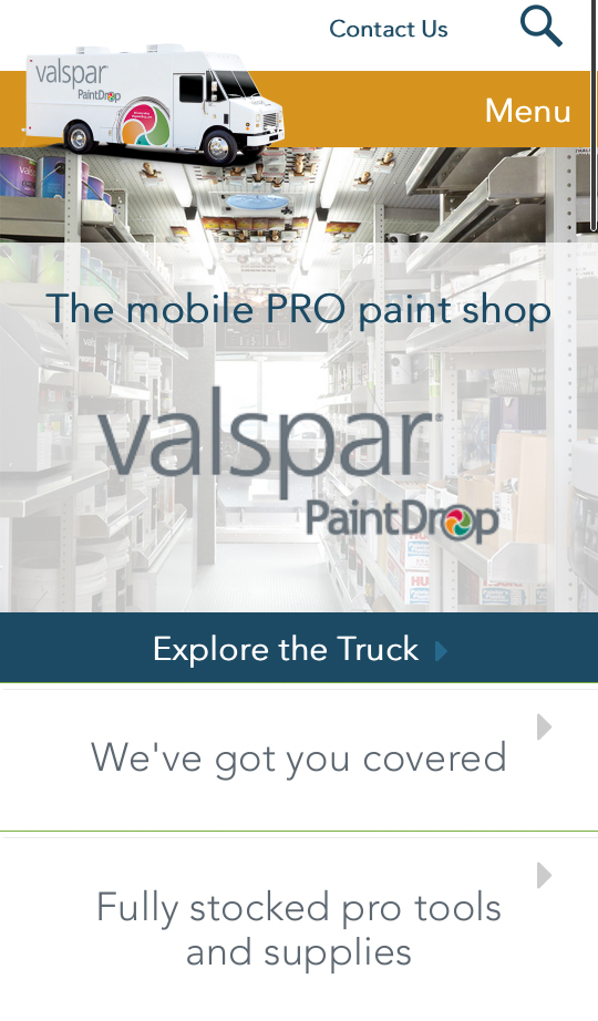Mobile responsive website selling house paint
