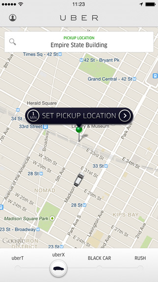 Map and choosing pickup location in Uber