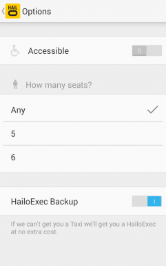 Choosing a number of sits in Uber like app Hailo