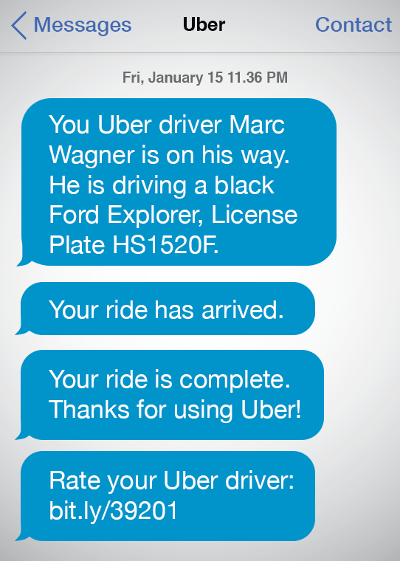 Uber SMS example