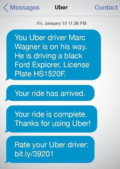 Пример SMS от Uber