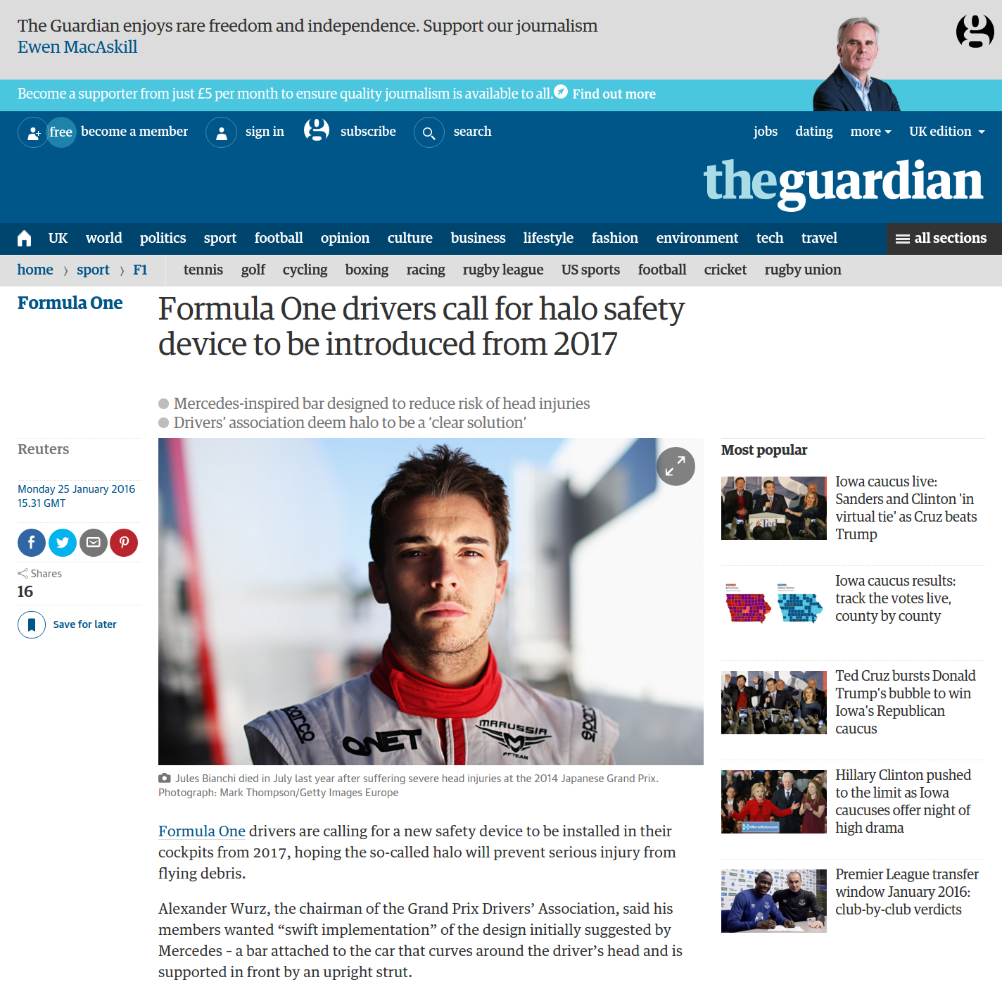 The Guardian website uses AngularJS