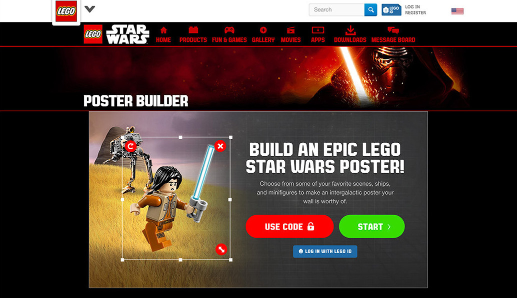 Lego interactive poster builder using AngularJS