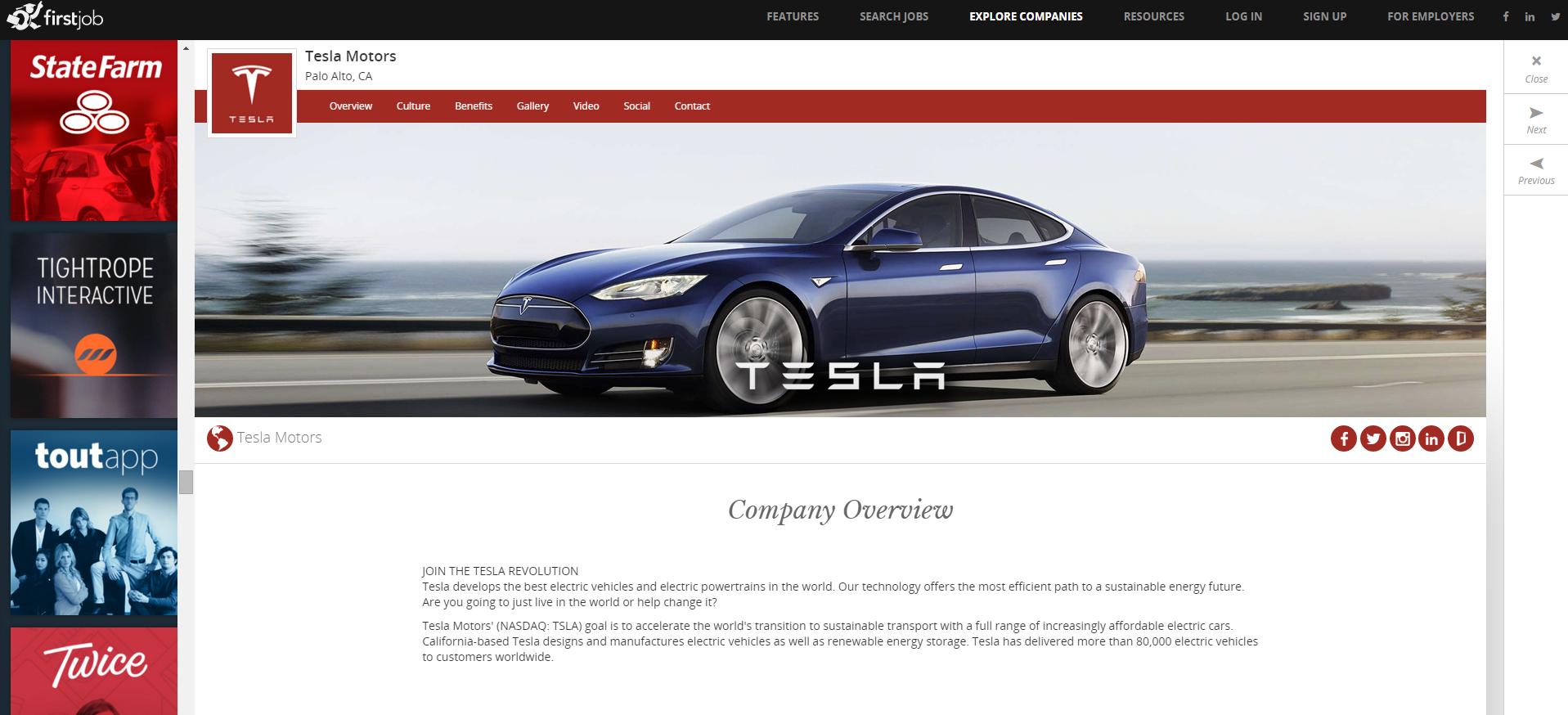 Профиль Tesla на FirstJob