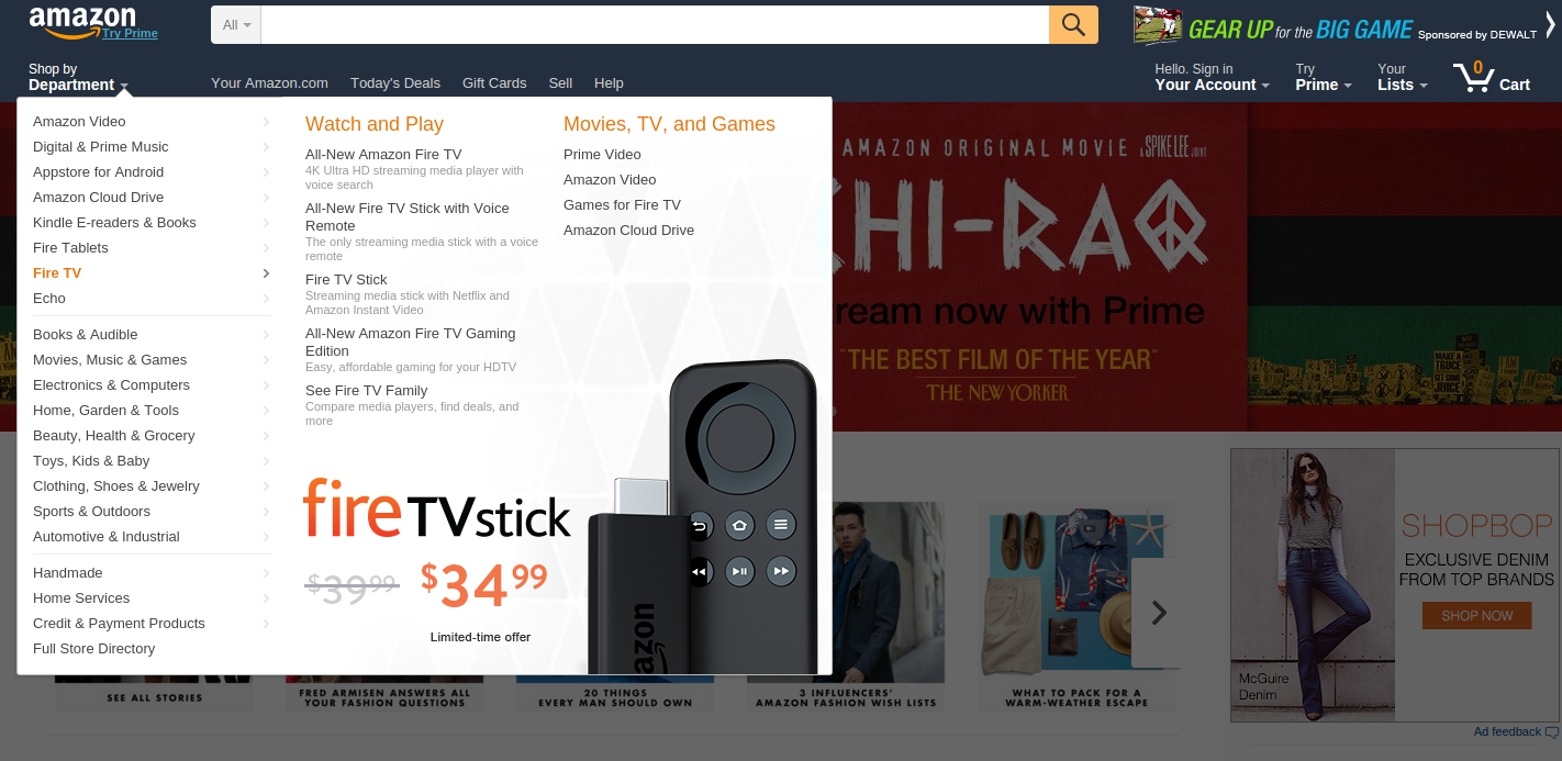 Desktop version of Amazon website