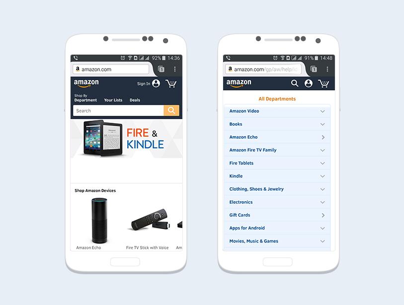 Версия сайта Amazon для смартфонов