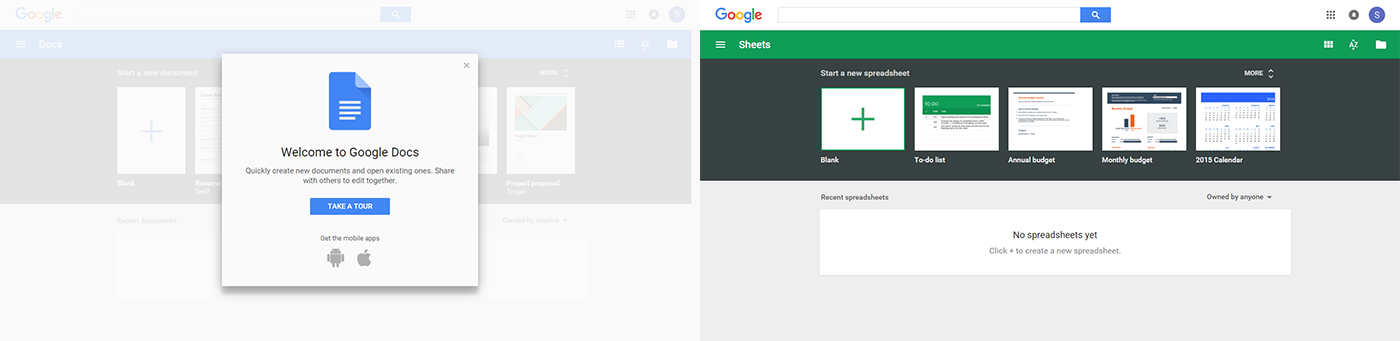 Приветственный экран в Google Docs