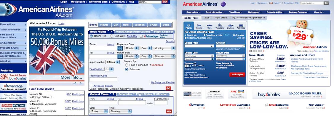 Редизайн сайта American Airlines