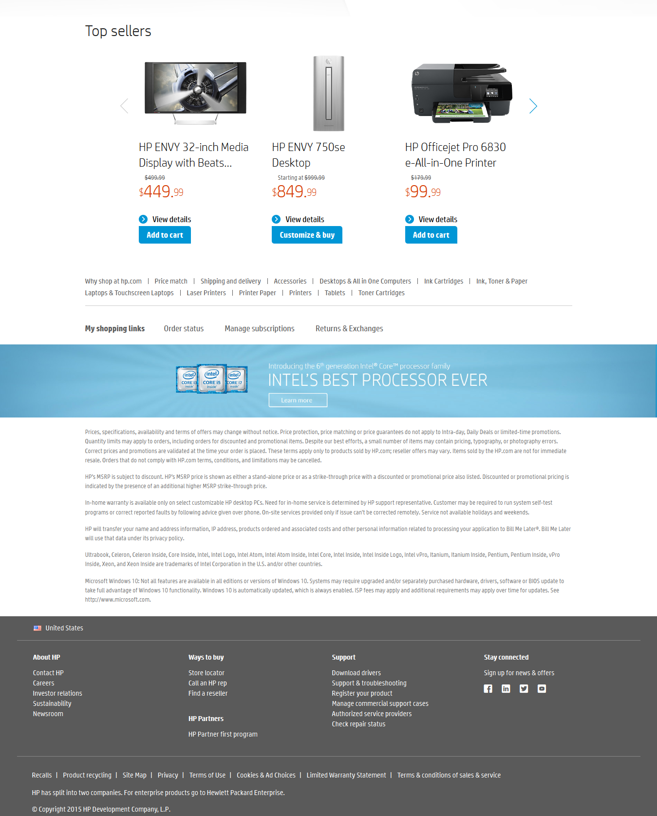 Footer of consumer electronics website