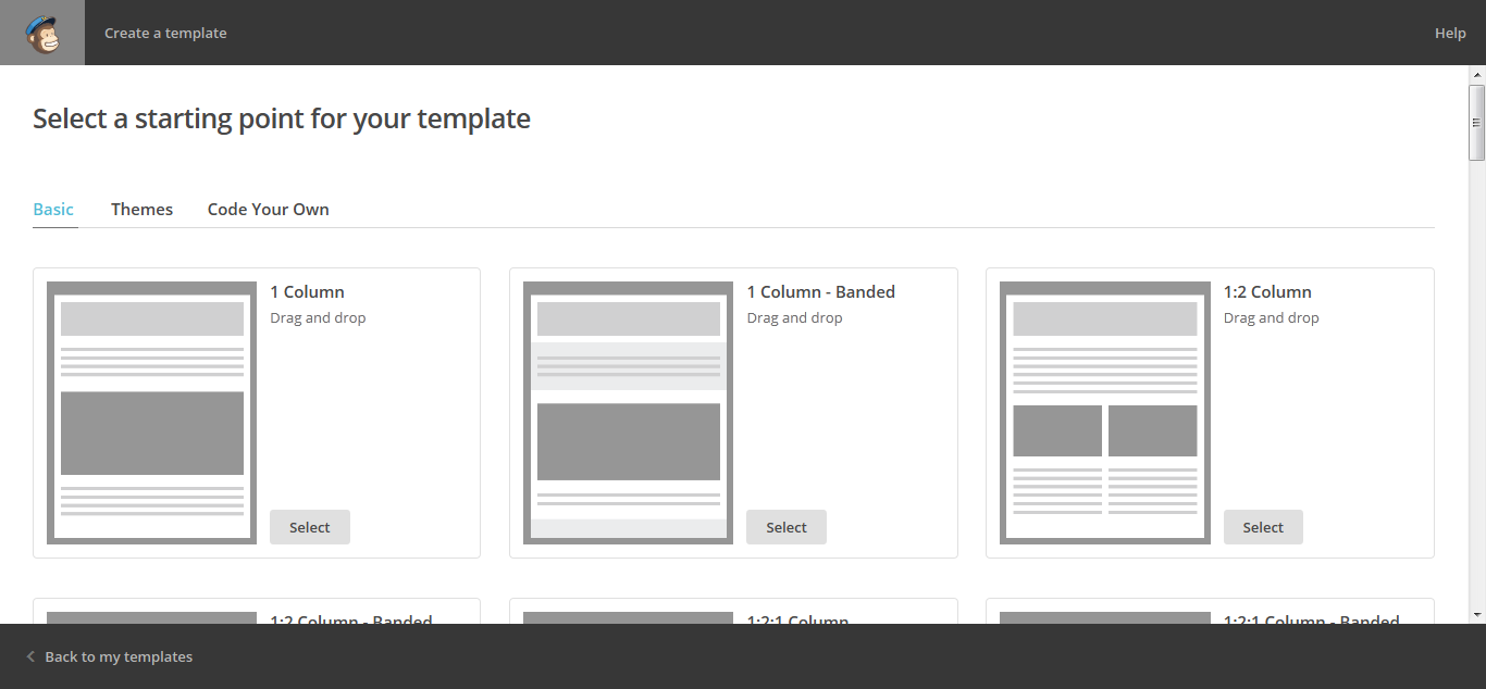 Templates for MailChimp web UI