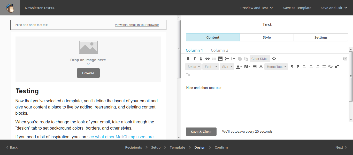 UI for editing template in MailChimp web UI