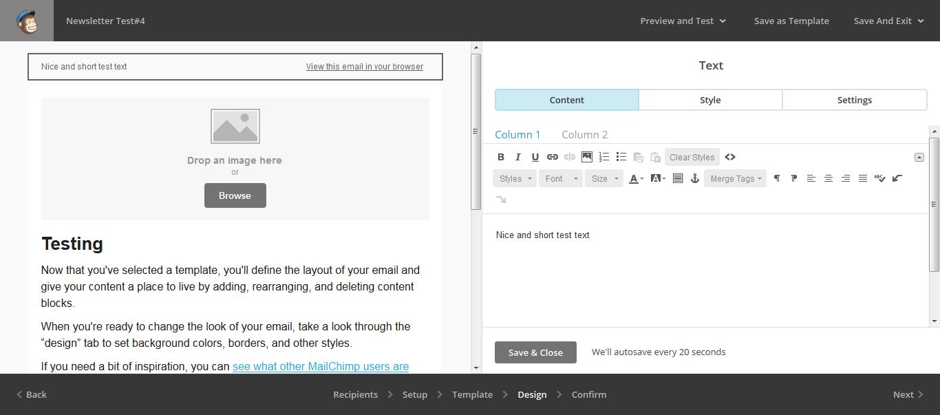 UI редактирования темплейта в MailChimp
