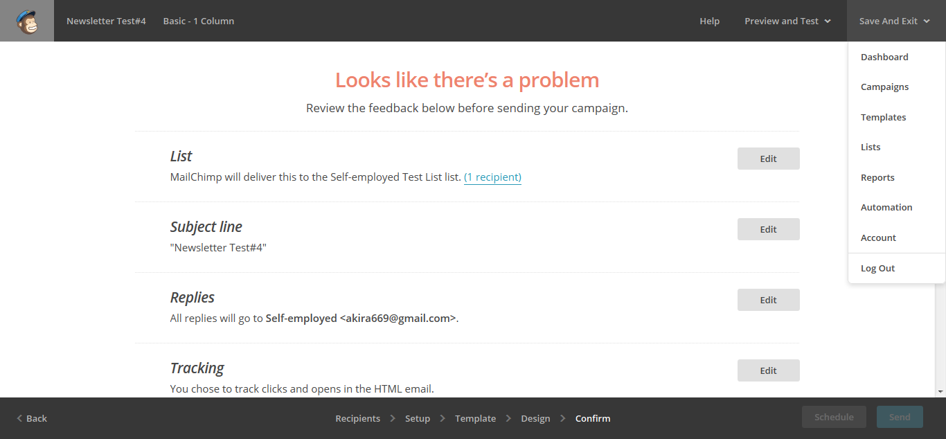 Error message in MailChimp web UI