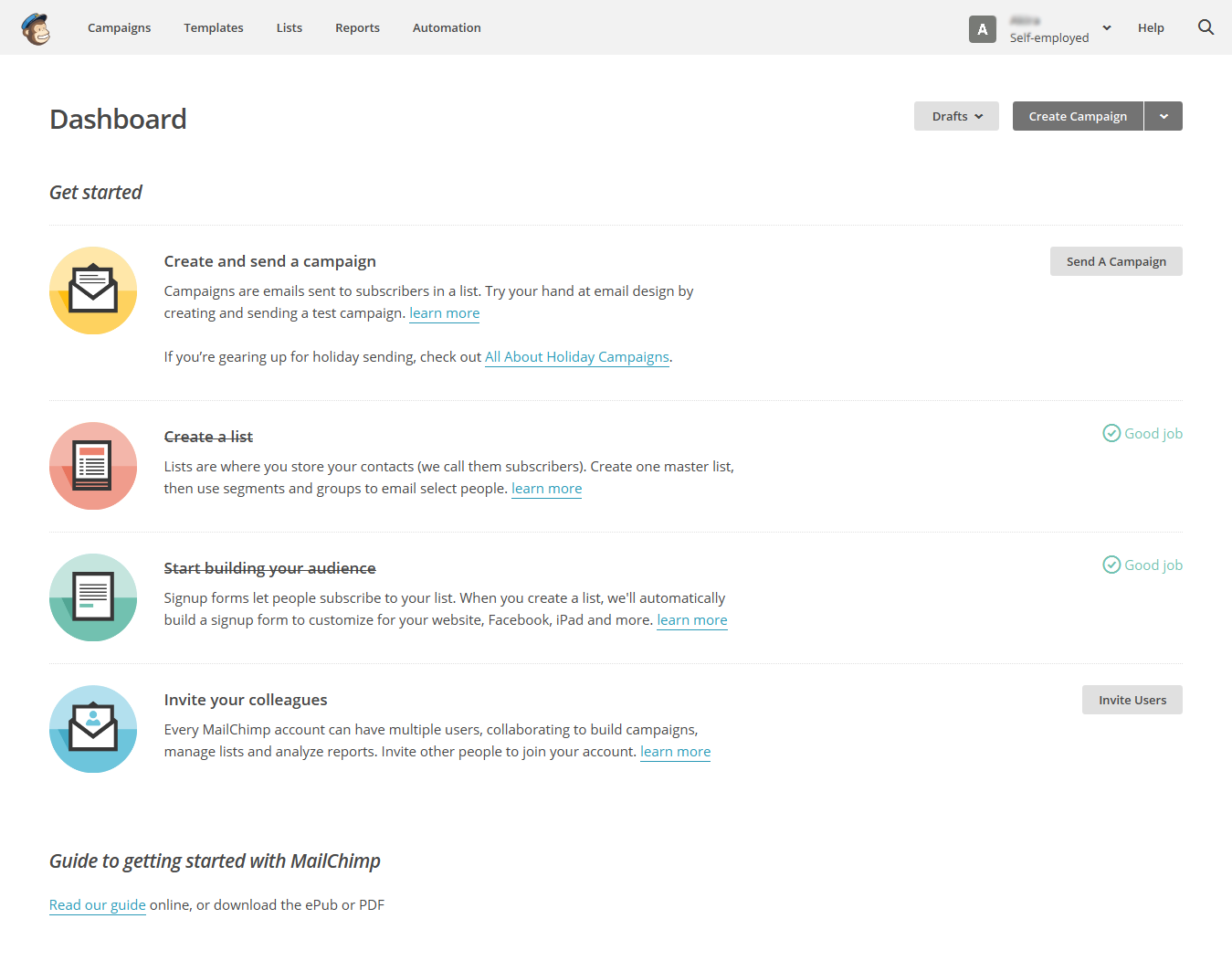 Completed actions in MailChimp web UI