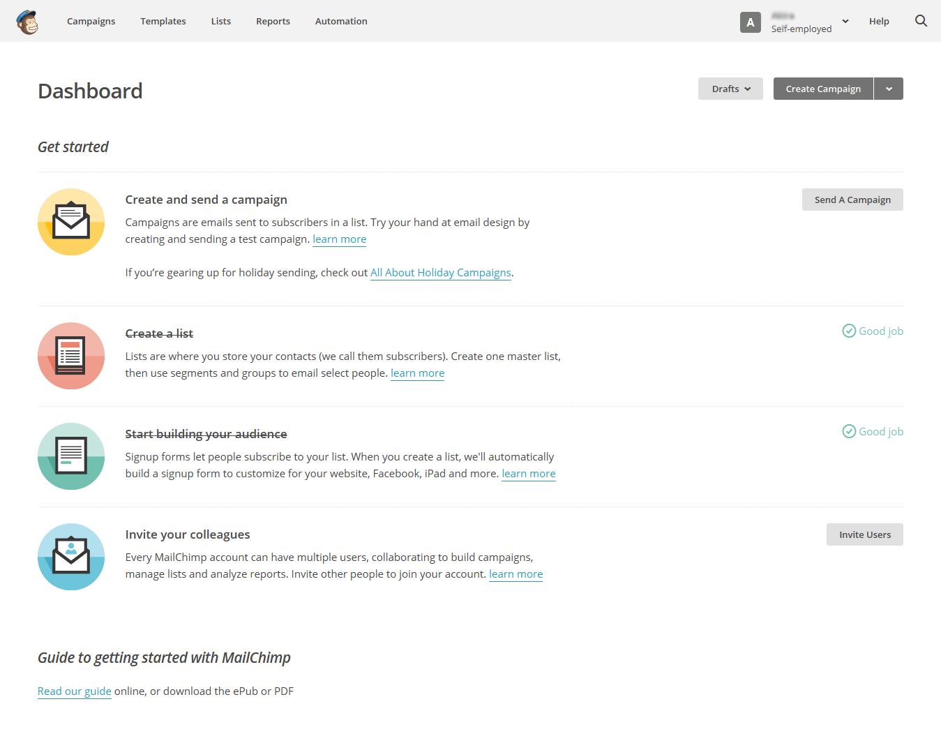 В веб-интерфейсе MailChimp отмечаются выполненные действия