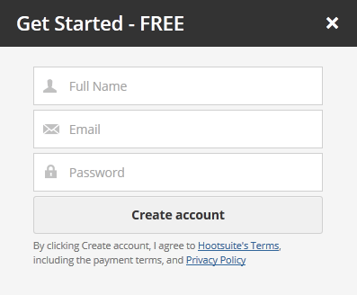 Simple registration form in Hootsuite web UI