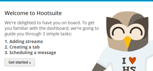 Getting started guide in Hootsuite web UI