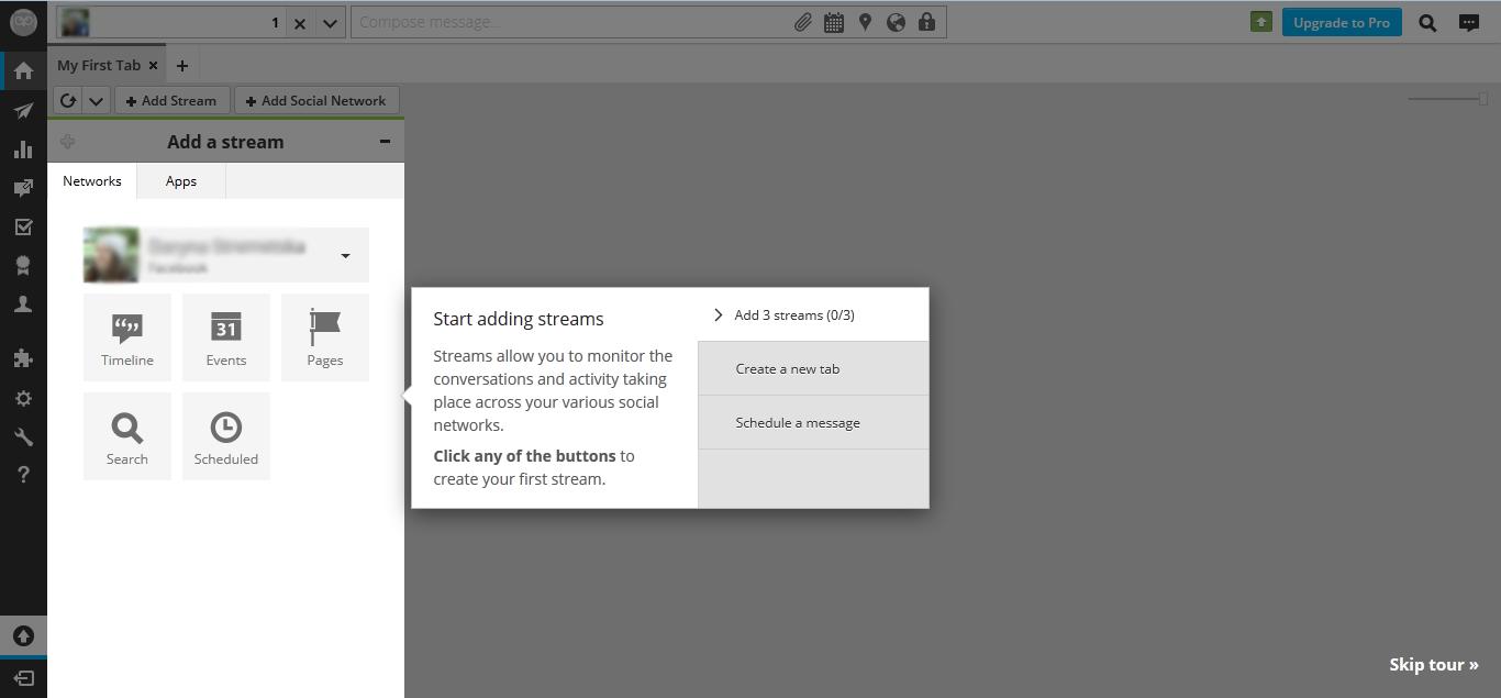 В веб-интерфейсе Hootsuite можно пропустить руководство по началу работы