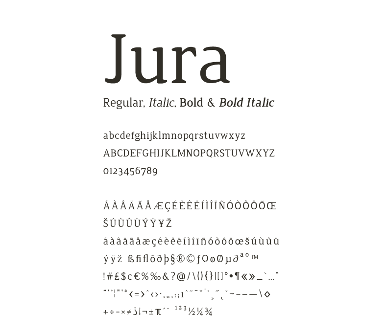 Элегантный шрифт Jura