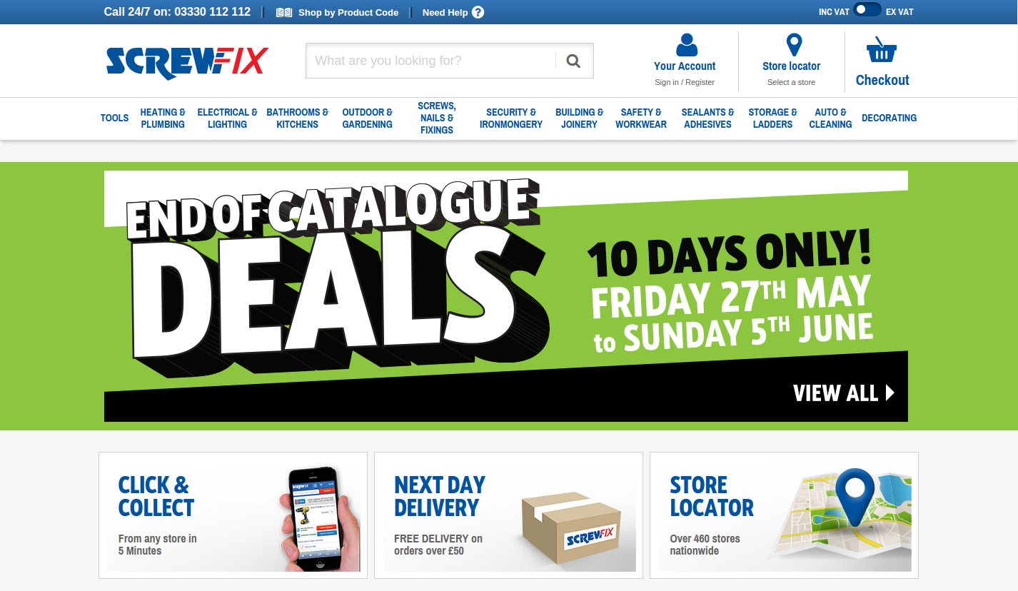 Screwfix website
