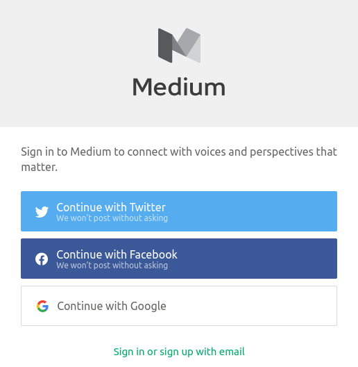 Typical form for registering with social networks