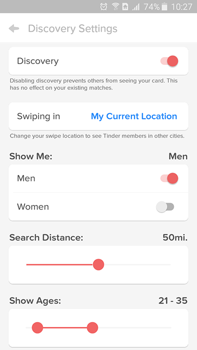 Search filters in Tinder
