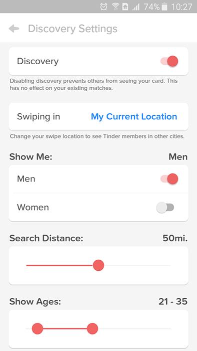 Поисковые фильтры в Tinder