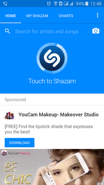 Native ads in Shazam app