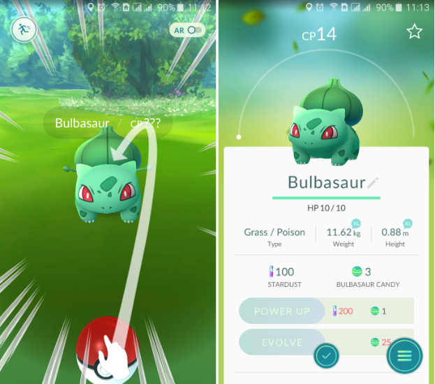 Бульбазавр в игре Pokemon GO