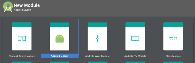 Choosing module type in Android Studio