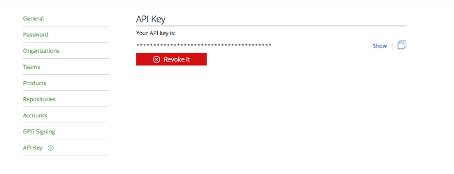 Getting API Key from Bintray