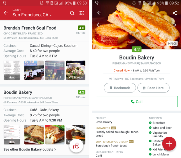 Location-based apps for finding places to eat
