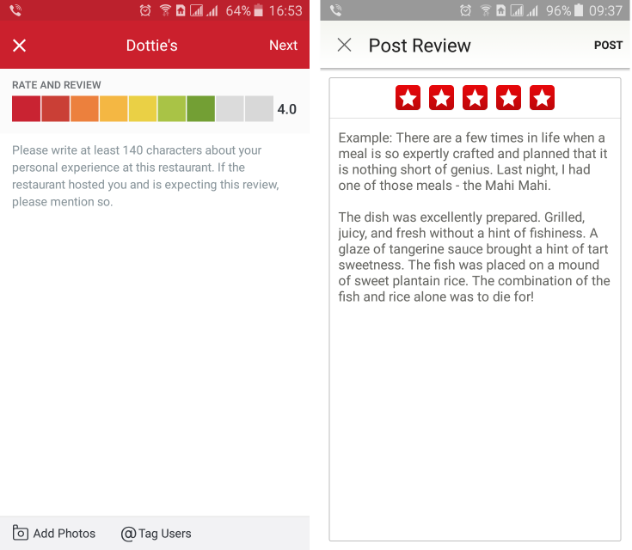 Экран оценки ресторана