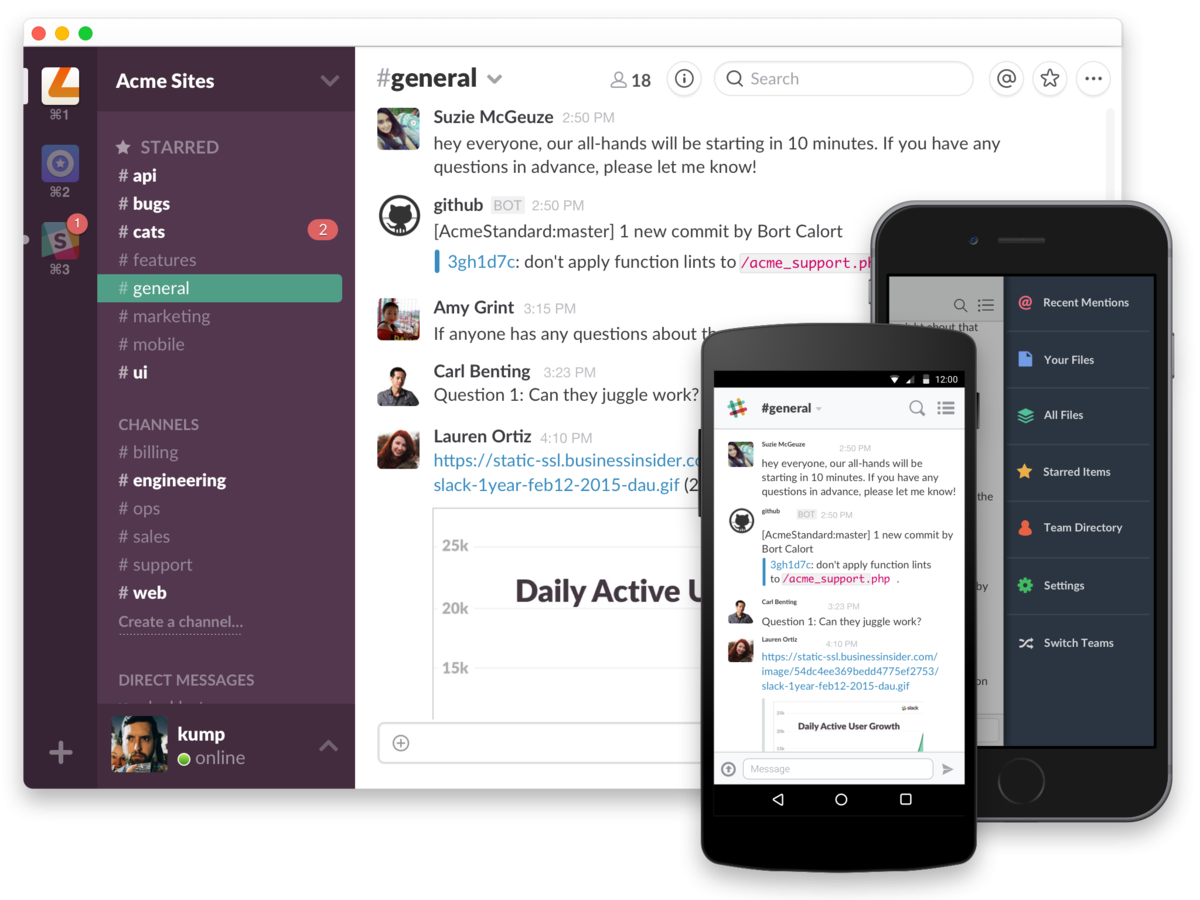 Slack messenger for mobile and desctop