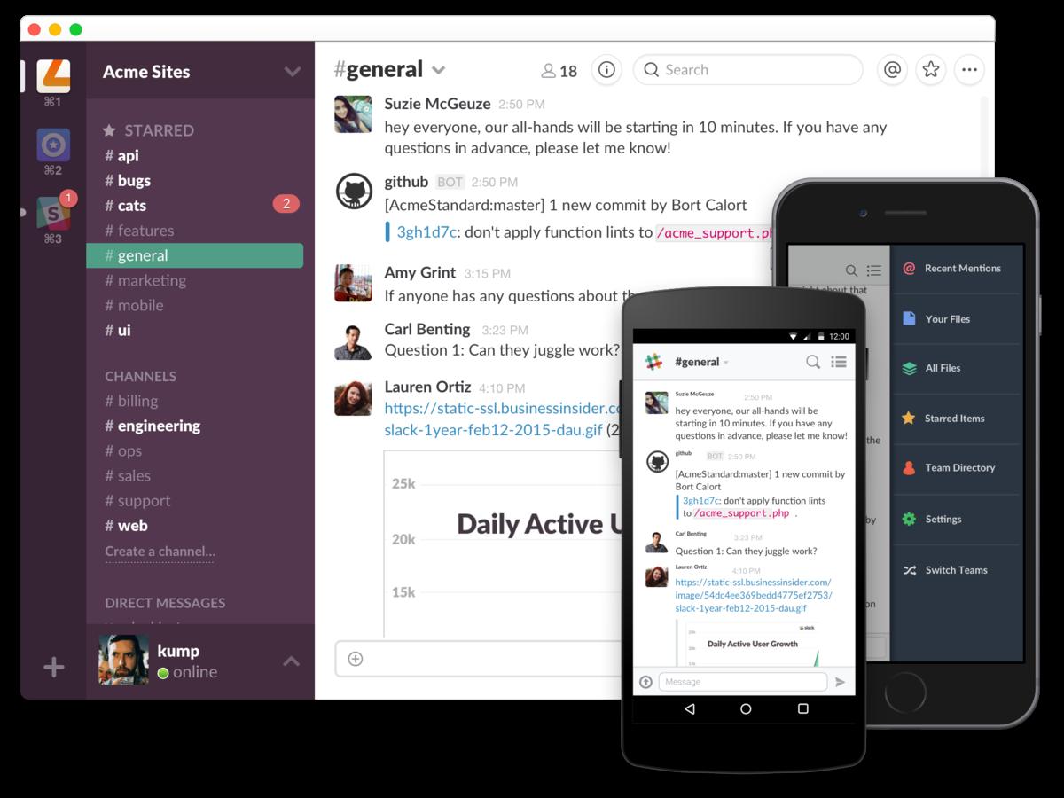 Мессенджер Slack доступен в мобильной и десктопной версиях