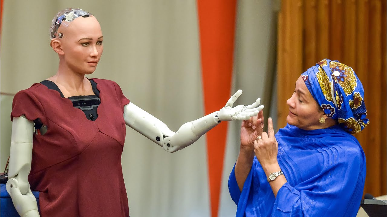 Robot Sophia is giving a speech